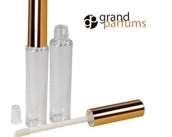 6 Lip Gloss 10ml Tubes w/ Metallic GOLD Wand Tops Private Label Cosmetic Packaging Lipstick Balm Makeup Artists Soft flocked tip PVC PLASTIC