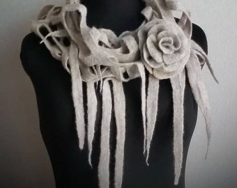 Sold out! Felted scarf made of natural merino Wool / Fashion accessory / felted art / summer / wool scarf / Shawl / Wool stole/ Gift for Her