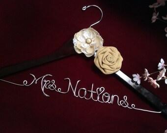 Rustic wedding hanger, Personalized wedding hanger, Bride hanger, wedding dress hanger, Burlap flowers hanger