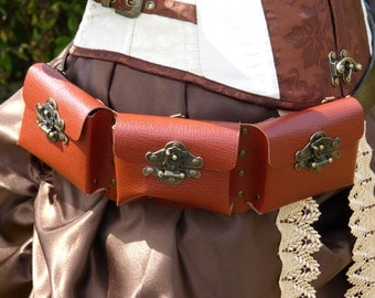 3 pouch pockets leather steampunk