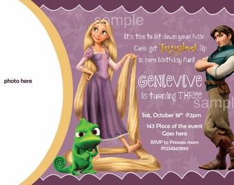 Rapunzel Birthday Invitation, Rapunzel Invitation. Digital (you print)