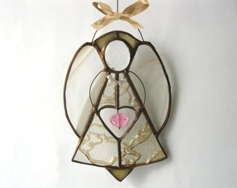 Stained Glass Angel Tiffany Suncatcher Window decor Gold color