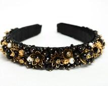 Black and gold beaded headband Baroque headband Beaded crown Beaded headband Black headband Vintage style headband Black hair accessory