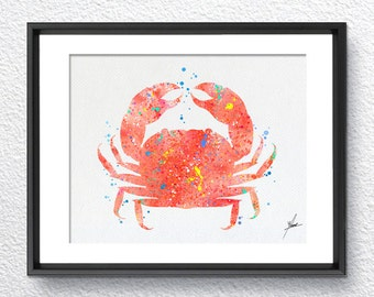 Red Crab, Watercolor Print, Wall Decor, Room Decor, Nautical Art, Blue Ocean, Item 167