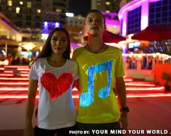 LED mens fiber optic light up EDM music t shirt Burning man costumes