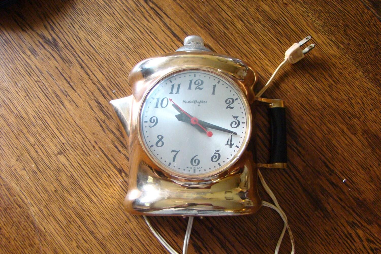 Mastercrafters Coffee Pot Clock Named Perky Percolator Gold