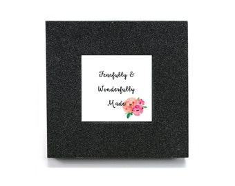"""Mini cubicle wall mirror with """"Fearfully and Wonderfully Made"""" message"""