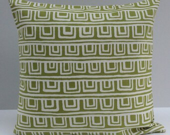 Lime Green and White Pillow, Throw Pillow Cover, Decorative Pillow Cover, Cushion Cover, Pillowcase, Accent Pillow, Toss Pillow, Cotton Cove
