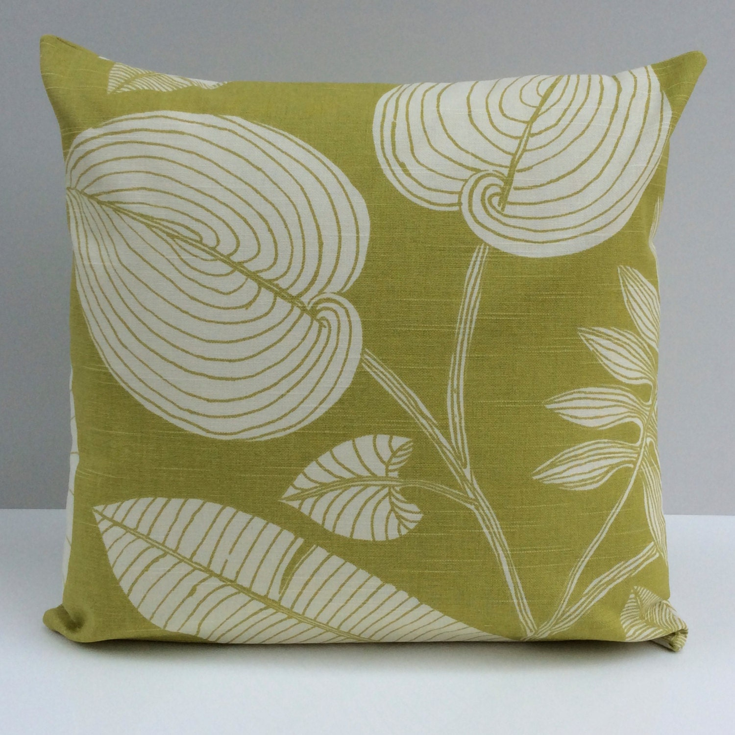 Throw Pillows Linen : Lime Green and Off White Pillow Throw Pillow Cover by SHPillows