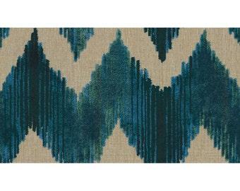 LEE JOFA KRAVET Cut Velvet Chevron Flame Stitch Zig Zag Fabric 10 yards Sapphire Blue Green