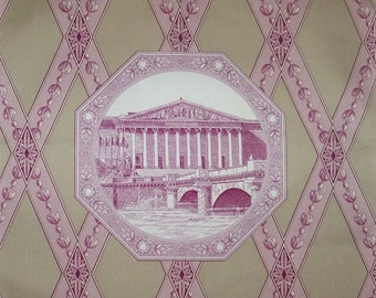 MANUEL CANOVAS French Parisian ARCHITECTURAL Toile Fabric 10 Yards Aubergine Beige White