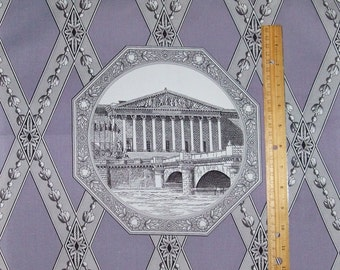 MANUEL CANOVAS French Parisian ARCHITECTURAL Toile Fabric 10 Yards Lavender White Gray