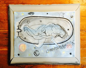 Dream Constellation // Original Art // 12 by 14 // Mounted // Unique and Unusual // Watercolor Painting and Ink Drawing