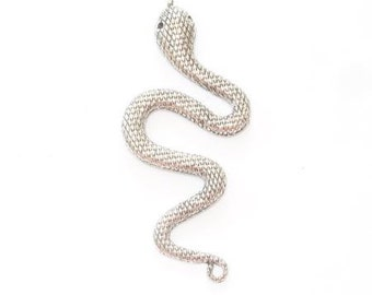 Pendant or charm snake aged silver