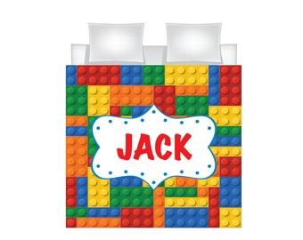 Personalized Lego Bedding for Kids - Lego Duvet for Boys - Name Duvet - Personalized Duvet Set for Kids - Custom Kids'