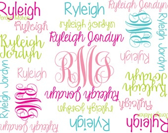 Personalize Baby Blanket Monogrammed Baby Blanket Name Blanket Swaddle Receiving Blanket Baby Shower Gift Photo Prop Pink and Aqua