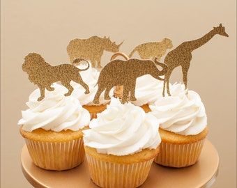 Golden Safari Cupcake Toppers in Gold set of 12