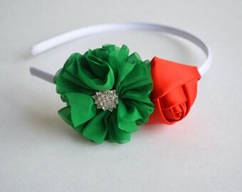 Christmas Headband, Holiday Headband, Toddler Girls Christmas Headband, Red and Green Headband, First Christmas, Baby Christmas Headband