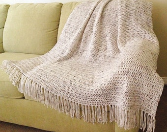 Crochet Afghan with Fringe, Blanket/Throw, Adult Size Fluffy, Rippled, and Soft Bedding, Twin, Double, Queen, King