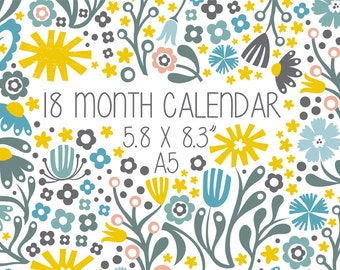 """18-Month Wall Calendar 5.5 x 8.5"""" (14 x 21.5 cm) A5 2016 Scandinavian Floral Illustrations Monthly Planner Gift Custom Back to School Kids"""