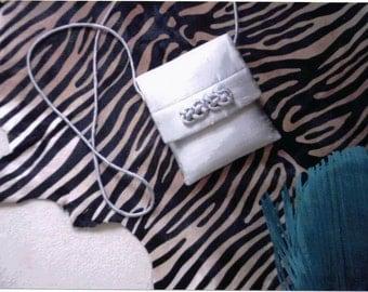 White shantung cross body evening purse