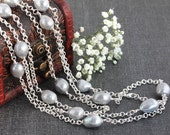 Extra Long Freshwater Pearl and Silver Chain Necklace / Statement Necklace / Layering Necklace / 60 Inches Long Necklace