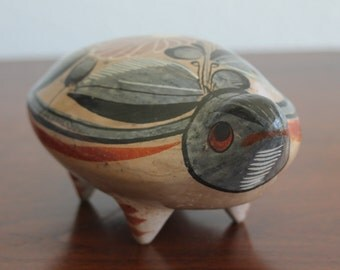 Vintage Mexican Tonala Pottery Turtle Hand Painted Ceramic SIGNED MEXICO