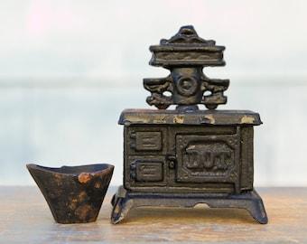Miniature Cast Iron Stove Bank with Coal Bucket