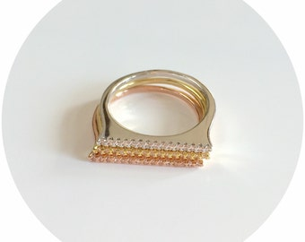 Tricolor Stackable Ring