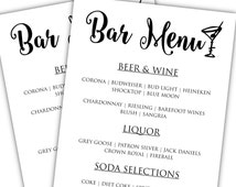 Popular items for bar menu on etsy for Wedding drink menu template free