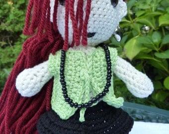 Gothic crocheted doll, Gothic doll Elise, Elise strange gothic doll, Amigurumi gothic doll, Crochet stuffed doll, Gothic crochet girl doll,