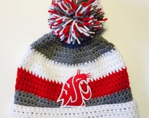 Washington Cougars inspired pompom hat with vintage patch,WSU Cougars Hat, Pom Pom Hat, Ear Flap Hat, Washington University Hat