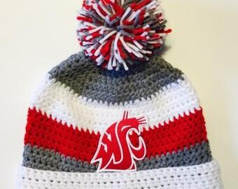 Washington Cougars inspired pompom hat with vintage patch,WSU Cougars Hat, Pom Pom Hat, Ear Flap Hat, Washington University Hat