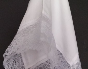 Beautiful White Church Lap Scarf with White Lace