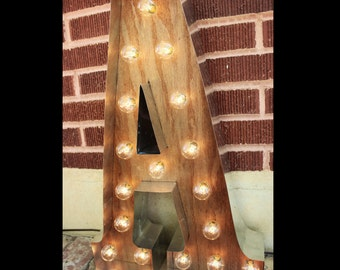 """48"""" Large Marqee letter lights 4ft Light-up Letter Sign Rustic Industrial Marquee lighting w/ Metal & Wood Light Bulb Letter Sign Wall Light"""