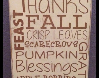 Fall, Autumn, Harvest, Thanksgiving sign, fall wood sign, Thanksgiving decor