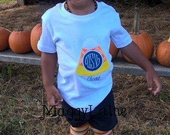 Candy Corn monogramed embroidered tee