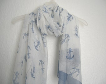 Anchor Scarf,  White And Blue Anchor Scarf, For Her, Spring, Summer Scarf, Autumn Scarf