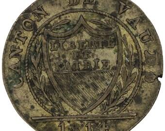 1814 Swiss Switzerland Canton Vaud 1 Batzen 10 Rappen
