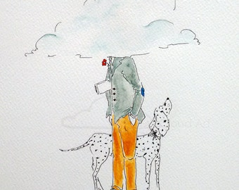 head in the clouds, illustration, original drawing
