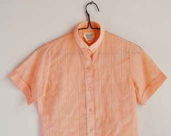Vintage Woven Cotton Short Sleeve Button Collar Shirt