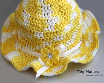 Girl's crocheted baby summer hat - yellow hat - 6 months to 2T