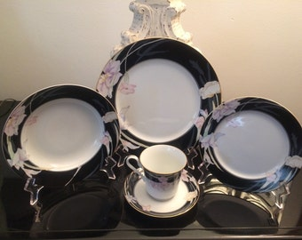 Vintage Mikasa Fine China Dinnerware Set Charisma Black 5 piece Place Setting