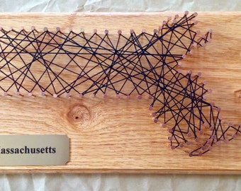 Small Massachusetts String Art with Plaque