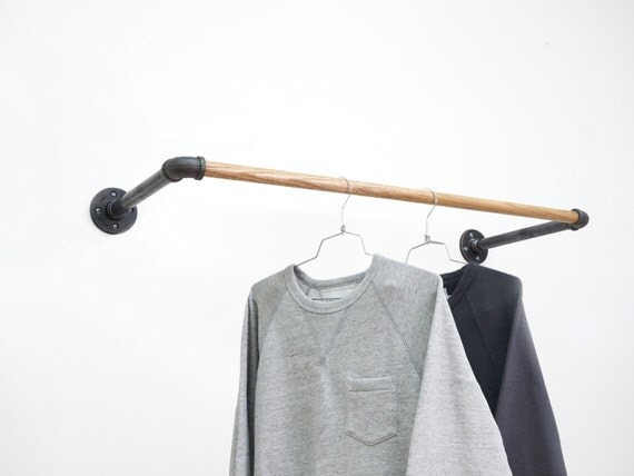 Black steel u rack wall mount clothing rack for Cloth hooks wall mount