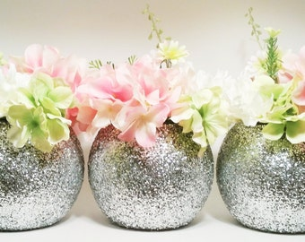 Wedding Centerpieces, Silver Wedding Decor, Flower Vase Centerpieces, Graduation Party Decorations, Glitter, Birthday Centerpieces, Set of 3