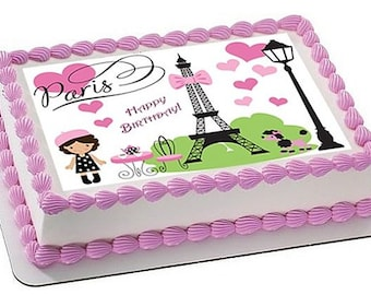Paris themed cake and cupcake toppers
