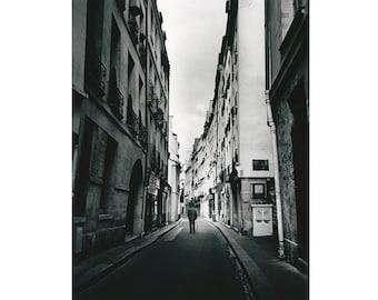 Paris Latin Quarter Photography, Black and White Paris Art Print, Parisian French Fine Art - Rue de Bievre, Latin Quarter, Paris