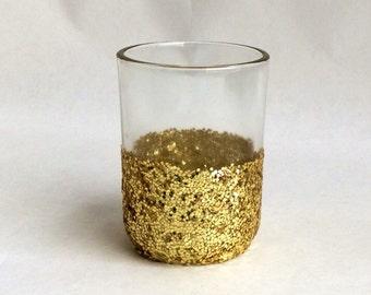12 Gold Glitter Dipped Candle Holders - half glitter votive holders