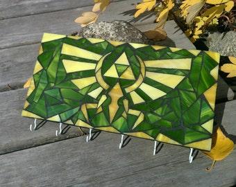 Zelda Triforce Glass Mosaic Key Hook Rack